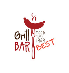 Greel bar food since 1969 logo template hand vector