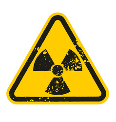grunge danger radioactive sign isolated on white vector image