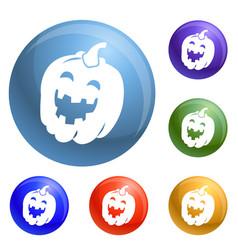 halloween pumkin icons set vector image