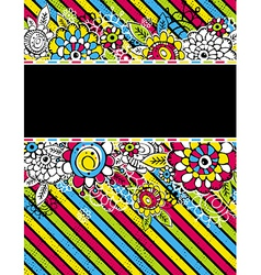 Hand draw flowers on color diagonal stripe on blac vector