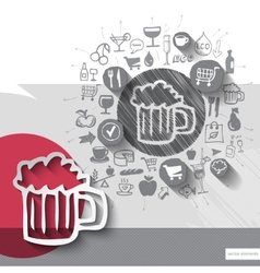 Hand drawn beer icons with food icons background vector image