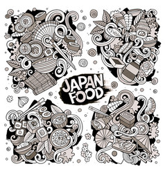 hand drawn doodles cartoon set of japan vector image