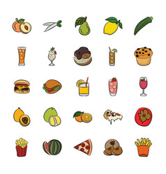 Hand drawn icons of food and drinks vector