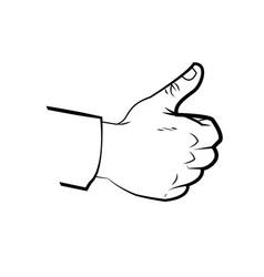 hand make thumb up comic line design vector image