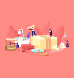 Handmade soap producing concept tiny male and vector