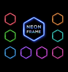 hexagon neon signs set on black background vector image