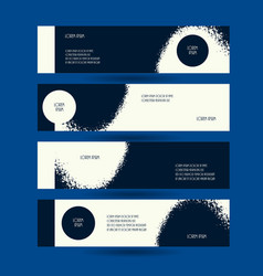 Horizontal creative flyers set grunge dark blue vector
