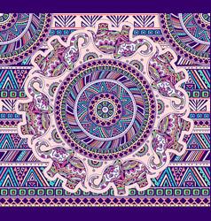 horizontal pattern with elephants and ethnic vector image