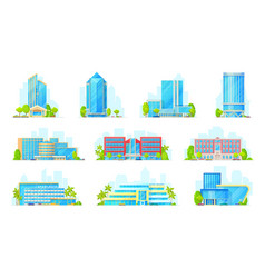 hotels and business center buildings icons vector image