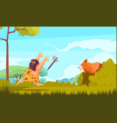 Hunting in stone age vector