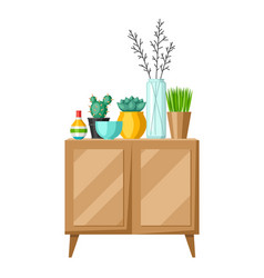 Interior home decor cupboard with vases and vector