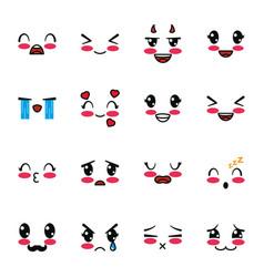 Isolated kawaii cartoon face icon set vector