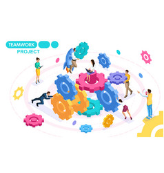 isometric project of teamwork brainstorming vector image