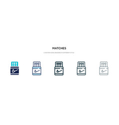 Matches icon in different style two colored vector
