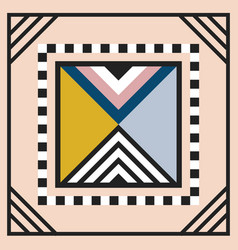 Modern geometric tile triangle emblem on pink vector