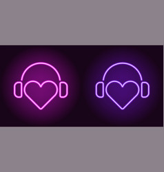 Neon heart with headphones in purple and violet vector