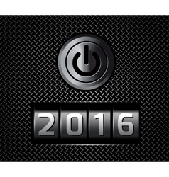 New Year counter 2016 with power button vector