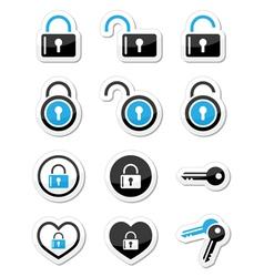 Padlock key account icons set vector