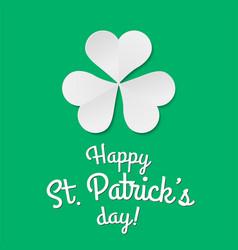 paper clover trefoil symbol happy patricks day vector image