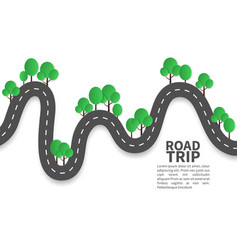 Paper road road landscape with trees origami vector