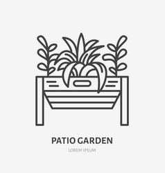 Patio garden flat line icon plants growing in vector