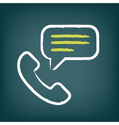 Phone call chalk icon with speech bubble vector