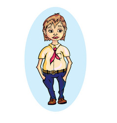 Pioneer in blue pants vector