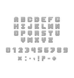 Pixel font for video games vector
