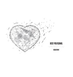 polygonal heart low poly black-and-white vector image