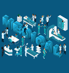 Quality isometrics medical workers and patients vector