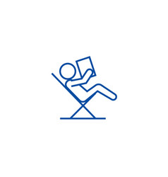 reading book sitting in chair line icon concept vector image