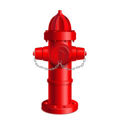 Realistic 3d detailed red fire hydrant vector