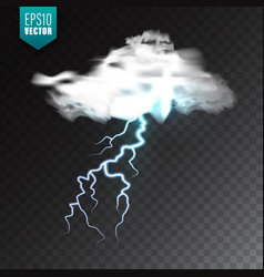 realistic clouds with lightning on transparent vector image