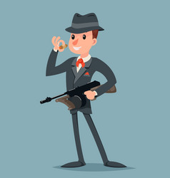 Retro gangster with submachine gun thug criminal vector