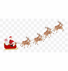 santa claus with a reindeer flying vector image