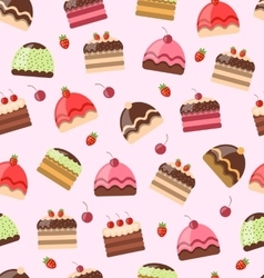Seamless Pattern with Different Cake vector image