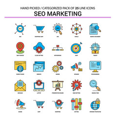 seo marketing flat line icon set - business vector image