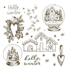 set christmas winter elements hand drawn vector image