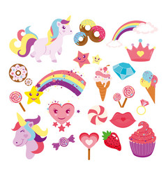 set cute unicorns star vector image