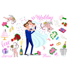 set just married newlyweds bride and groom set vector image