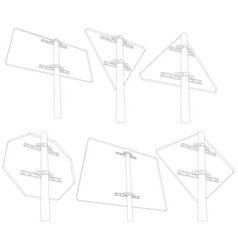 set of wire-frame road signs vector image