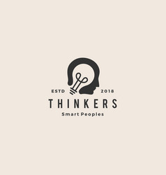 smart human head think bulb idea logo hipster vector image