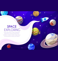 Space exploring cartoon poster with rocket vector