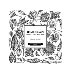 Square floral design with black and white african vector