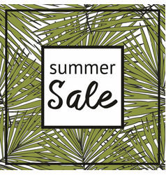 summer sale with decorative tropical pattern vector image