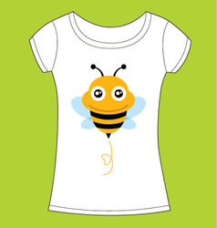 T-shirt design with cute bee vector image