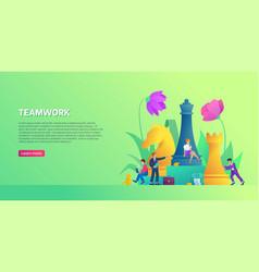 Teamwork banner template business strategy flyer vector