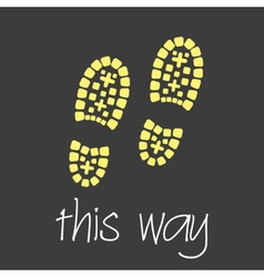 This way with footprint symbols theme simple vector