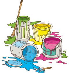 Tin cans of different paint and paintbrush vector