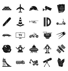 Tv software icons set simple style vector